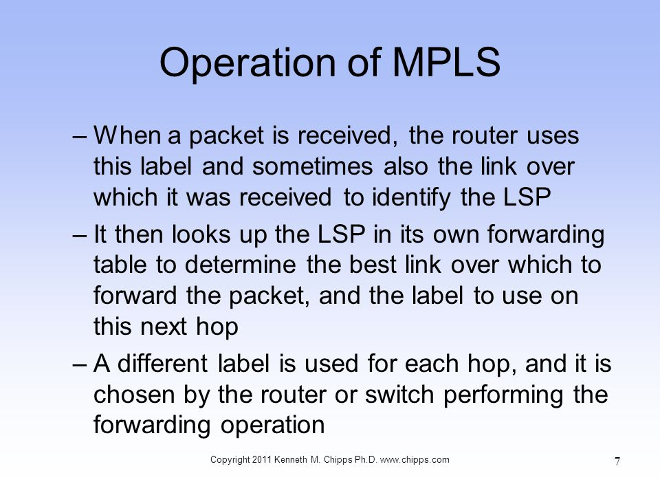 Operation of MPLS –When a packet is received, the router uses this label and sometimes also the link over which it was received to identify the LSP –I