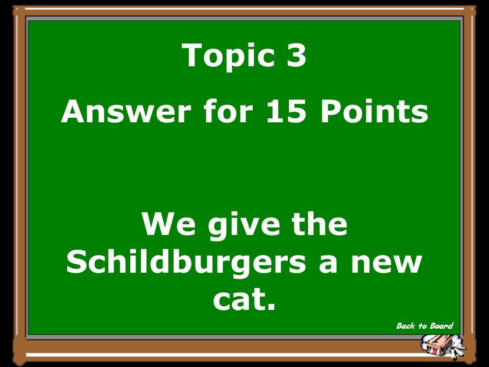 Topic 3 Question for 15 Points Wir geben den Schildburgern einen neuen Maushund. Show Answer