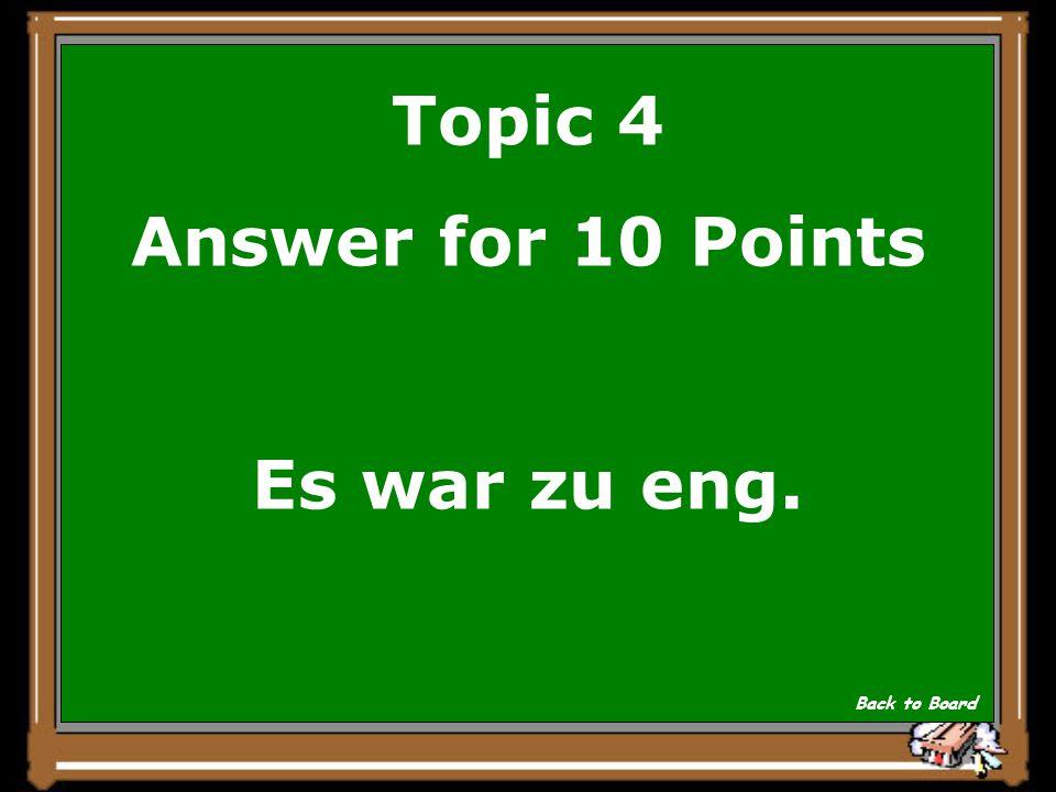 Topic 4 Question for 10 Points Warum nahm der Schildbuerger sein Tuch zum Geschaeft zurueck.
