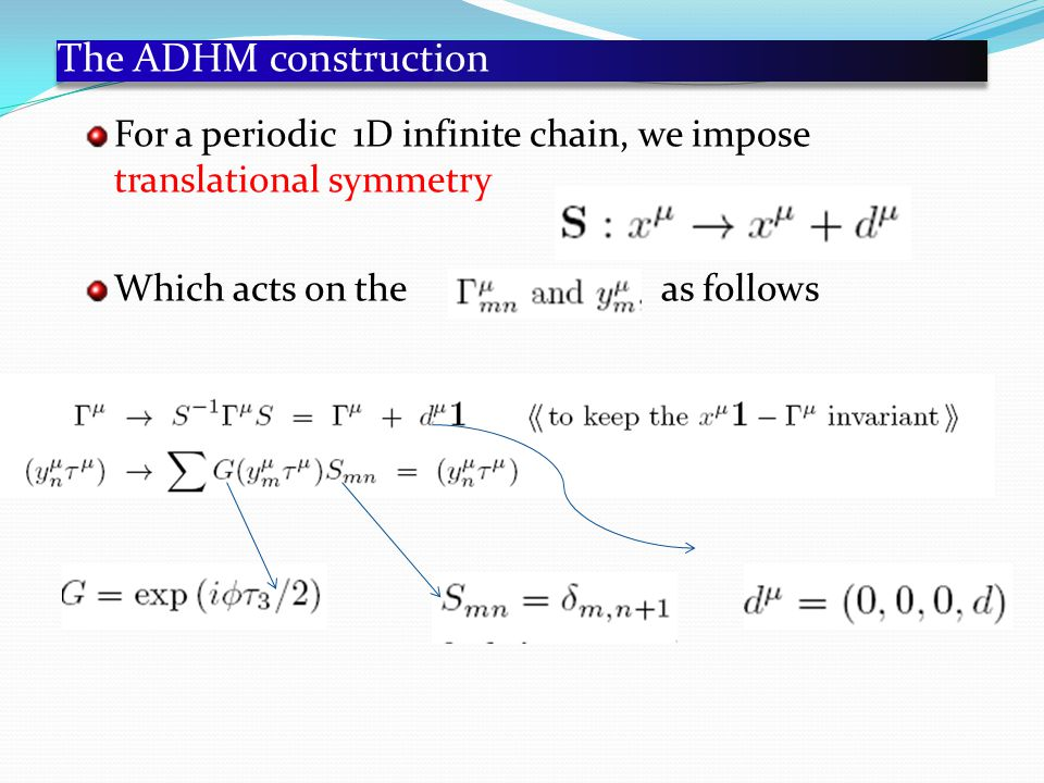 The ADHM construction For a periodic 1D infinite chain, we impose translational symmetry Which acts on the as follows