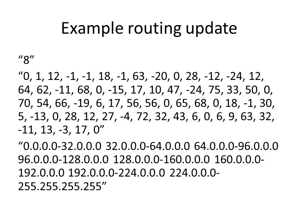 Example routing update 8 0, 1, 12, -1, -1, 18, -1, 63, -20, 0, 28, -12, -24, 12, 64, 62, -11, 68, 0, -15, 17, 10, 47, -24, 75, 33, 50, 0, 70, 54, 66, -19, 6, 17, 56, 56, 0, 65, 68, 0, 18, -1, 30, 5, -13, 0, 28, 12, 27, -4, 72, 32, 43, 6, 0, 6, 9, 63, 32, -11, 13, -3, 17, 0 0.0.0.0-32.0.0.0 32.0.0.0-64.0.0.0 64.0.0.0-96.0.0.0 96.0.0.0-128.0.0.0 128.0.0.0-160.0.0.0 160.0.0.0- 192.0.0.0 192.0.0.0-224.0.0.0 224.0.0.0- 255.255.255.255