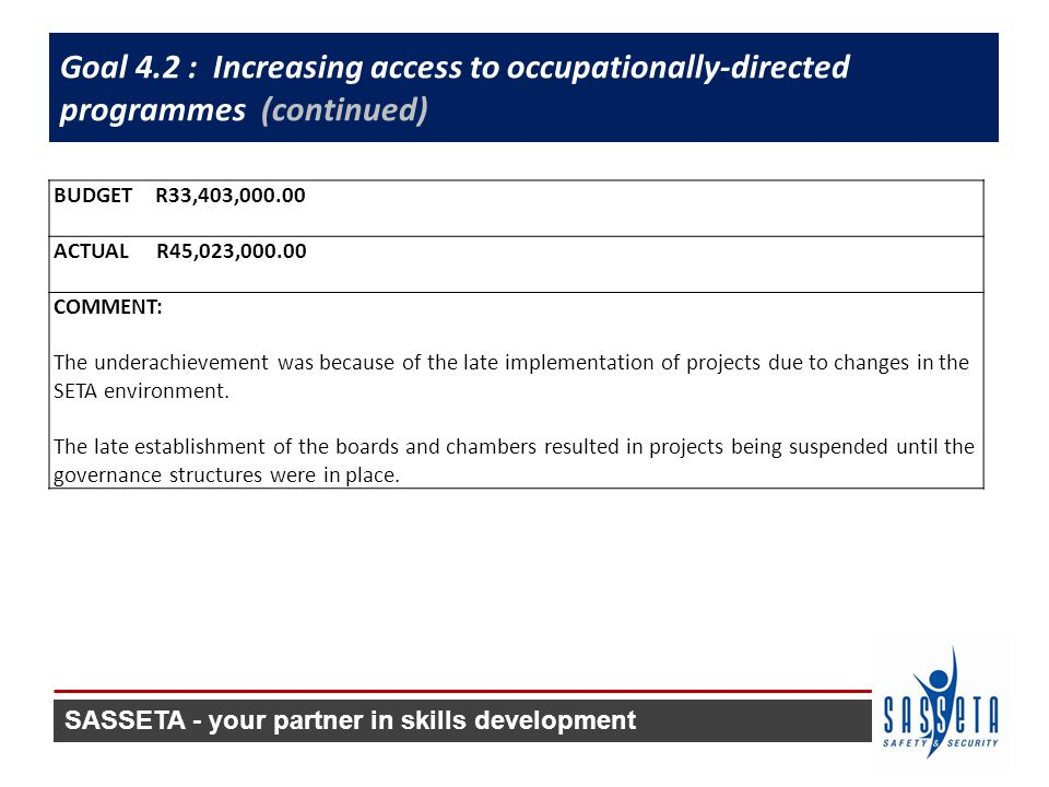 Goal 4.2 : Increasing access to occupationally-directed programmes (continued) BUDGET R33,403,000.00 ACTUAL R45,023,000.00 COMMENT: The underachievement was because of the late implementation of projects due to changes in the SETA environment.