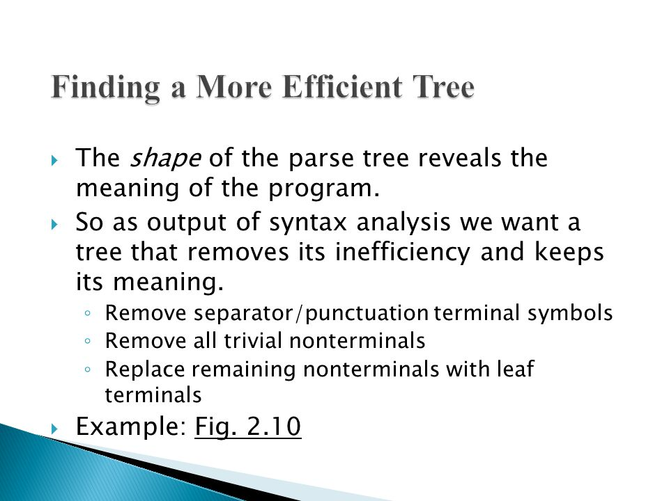  The shape of the parse tree reveals the meaning of the program.