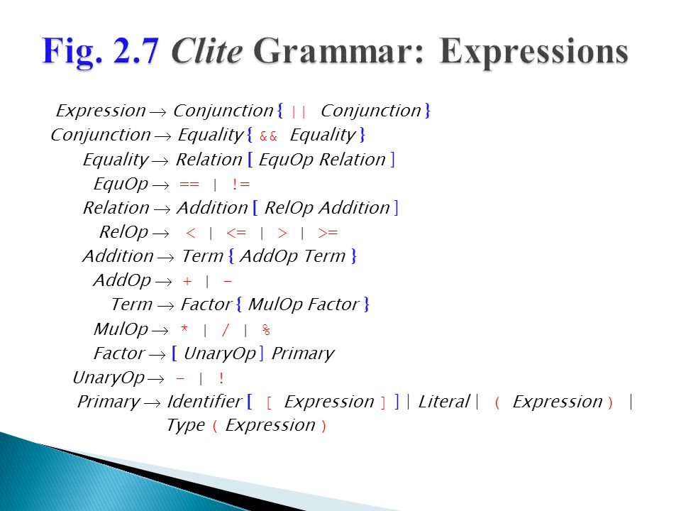 Clite's expression rules are non- ambiguous with respect to precedence and associativity ◦ Rule ordering defines precedence; rule format defines associativity.