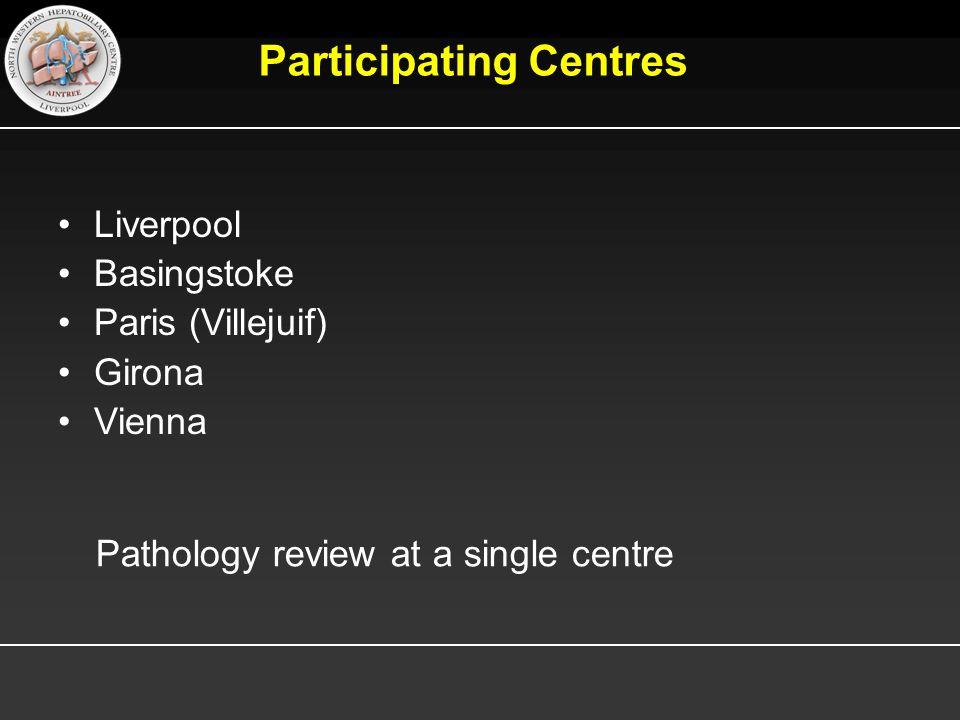 Participating Centres Liverpool Basingstoke Paris (Villejuif) Girona Vienna Pathology review at a single centre