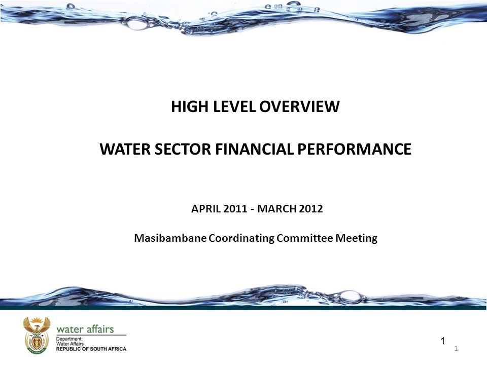 1 1 HIGH LEVEL OVERVIEW WATER SECTOR FINANCIAL PERFORMANCE APRIL 2011 - MARCH 2012 Masibambane Coordinating Committee Meeting