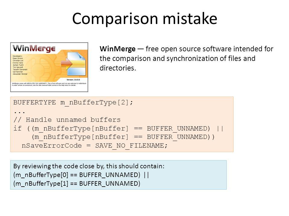 Comparison mistake BUFFERTYPE m_nBufferType[2];...