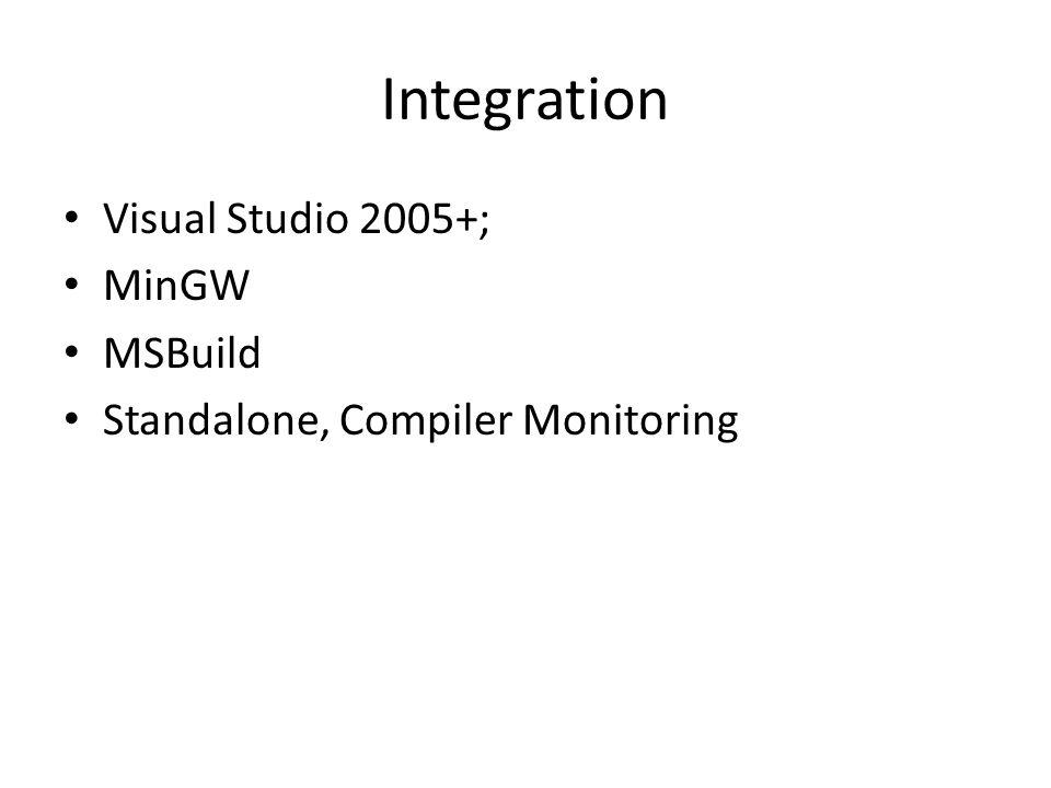 Integration Visual Studio 2005+; MinGW MSBuild Standalone, Compiler Monitoring