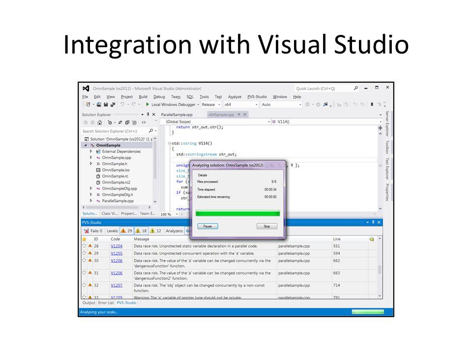 Integration with Visual Studio