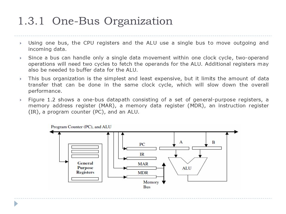 1.3.1 One-Bus Organization  Using one bus, the CPU registers and the ALU use a single bus to move outgoing and incoming data.  Since a bus can handl