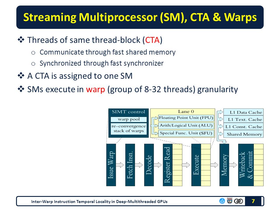 Streaming Multiprocessor (SM), CTA & Warps  Threads of same thread-block (CTA) o Communicate through fast shared memory o Synchronized through fast synchronizer  A CTA is assigned to one SM  SMs execute in warp (group of 8-32 threads) granularity 7 Inter-Warp Instruction Temporal Locality in Deep-Multithreaded GPUs