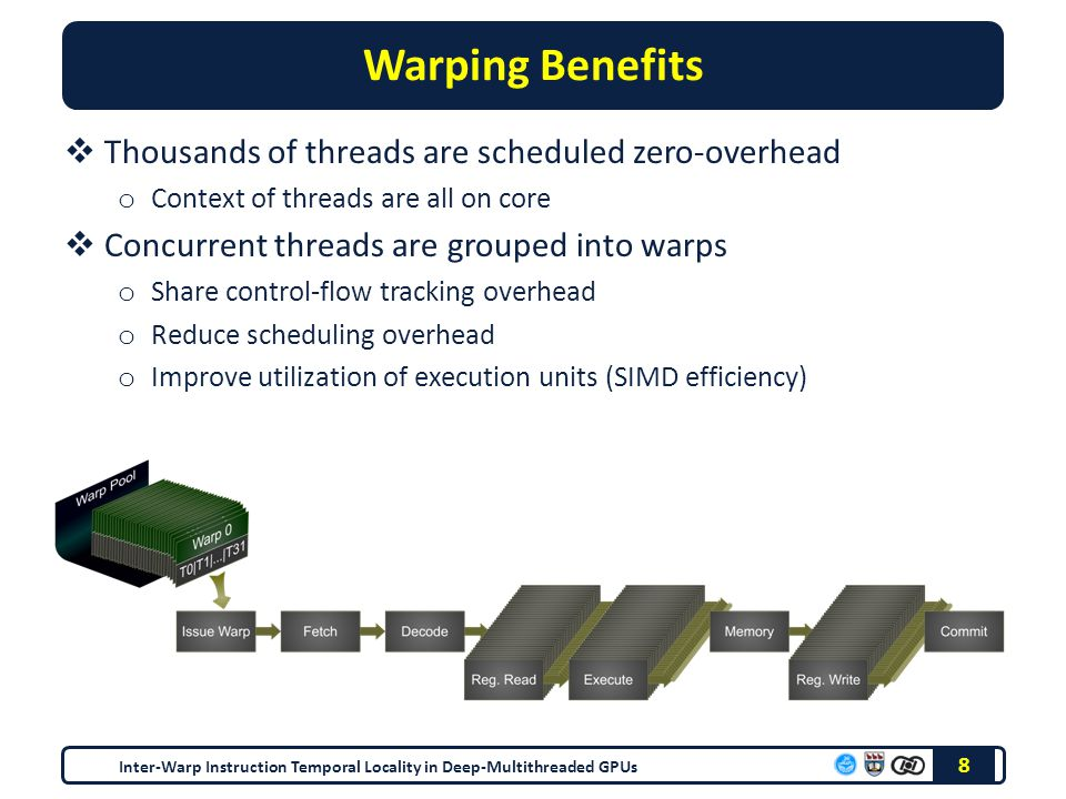 Warping Benefits  Thousands of threads are scheduled zero-overhead o Context of threads are all on core  Concurrent threads are grouped into warps o Share control-flow tracking overhead o Reduce scheduling overhead o Improve utilization of execution units (SIMD efficiency) 8 Inter-Warp Instruction Temporal Locality in Deep-Multithreaded GPUs