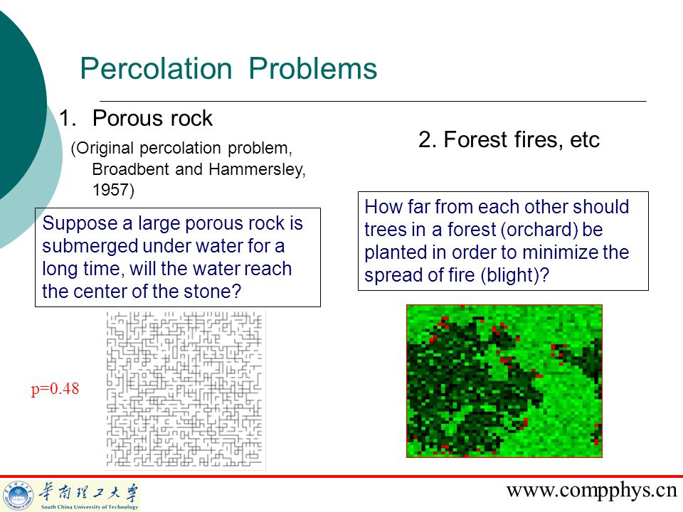 www.compphys.cn Percolation Problems 1.Porous rock (Original percolation problem, Broadbent and Hammersley, 1957) 2. Forest fires, etc Suppose a large