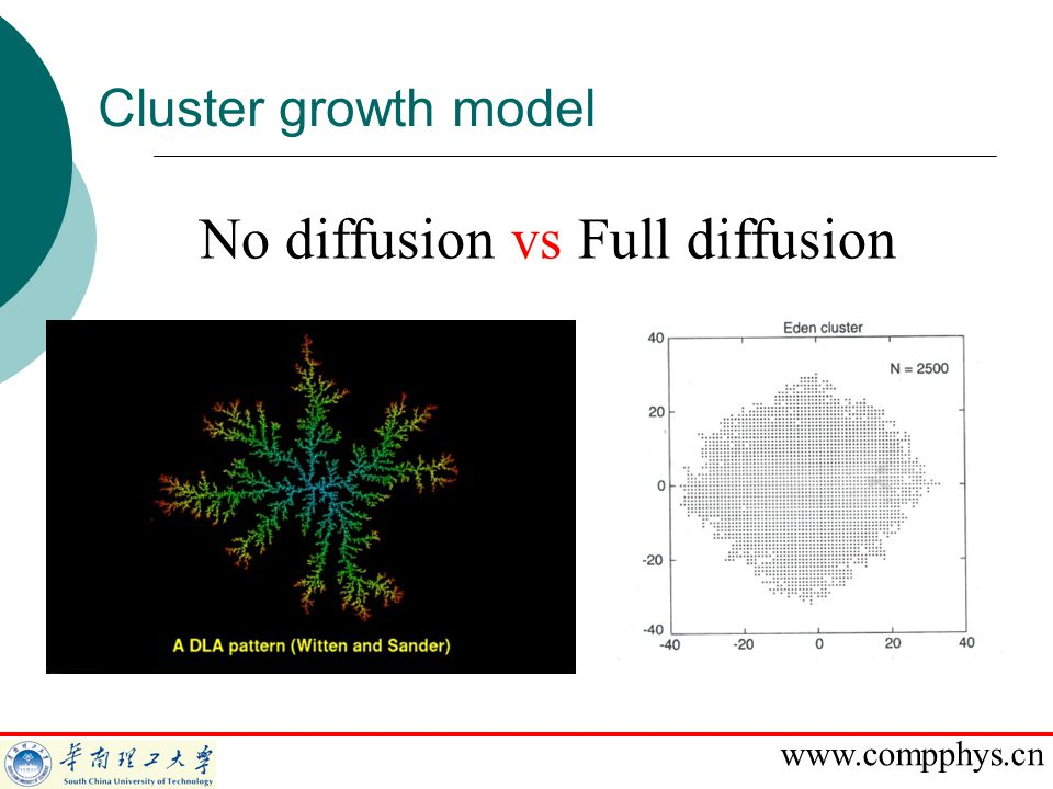 www.compphys.cn Cluster growth model No diffusion vs Full diffusion
