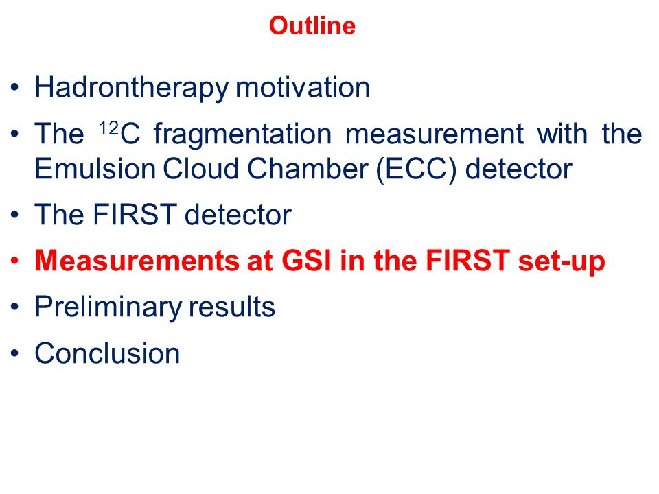 Hadrontherapy motivation The 12 C fragmentation measurement with the Emulsion Cloud Chamber (ECC) detector The FIRST detector Measurements at GSI in t