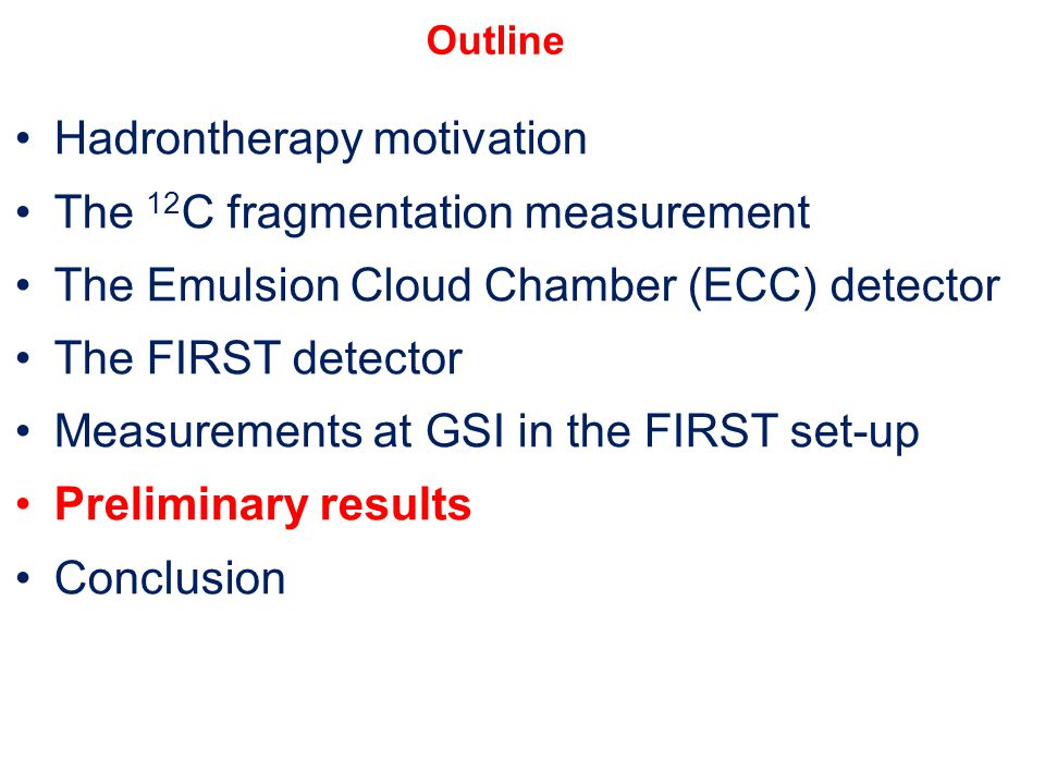 Hadrontherapy motivation The 12 C fragmentation measurement The Emulsion Cloud Chamber (ECC) detector The FIRST detector Measurements at GSI in the FI