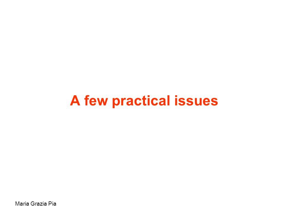 Maria Grazia Pia A few practical issues