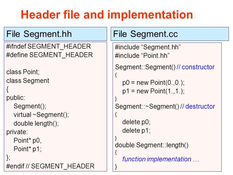 Maria Grazia Pia Header file and implementation #ifndef SEGMENT_HEADER #define SEGMENT_HEADER class Point; class Segment { public: Segment(); virtual ~Segment(); double length(); private: Point* p0, Point* p1; }; #endif // SEGMENT_HEADER File Segment.hh #include Segment.hh #include Point.hh Segment::Segment() // constructor { p0 = new Point(0.,0.); p1 = new Point(1.,1.); } Segment::~Segment() // destructor { delete p0; delete p1; } double Segment::length() { function implementation … } File Segment.cc