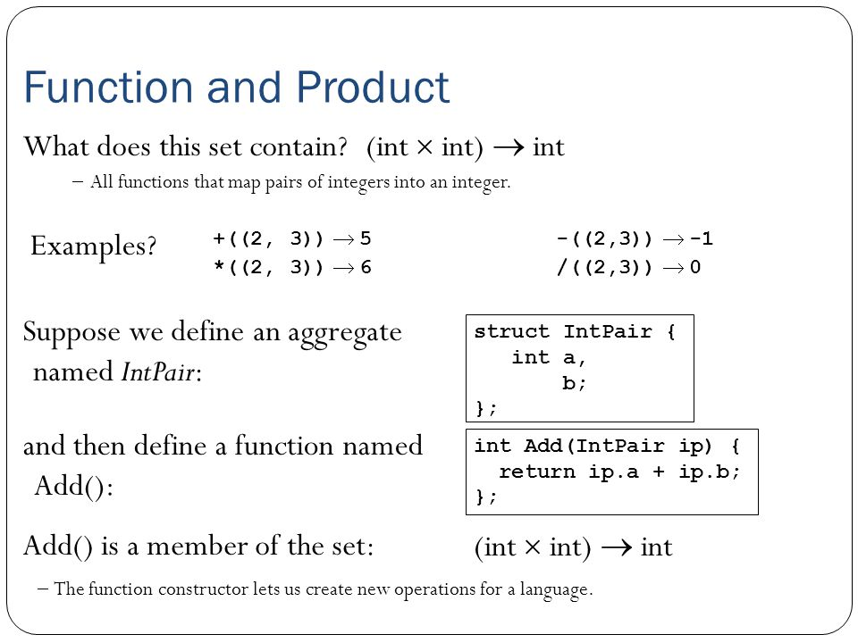 Function and Product What does this set contain?(int  int)  int Examples.