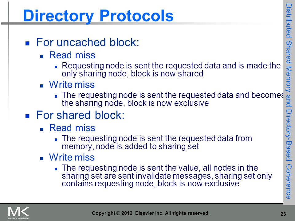 23 Copyright © 2012, Elsevier Inc. All rights reserved. Directory Protocols For uncached block: Read miss Requesting node is sent the requested data a