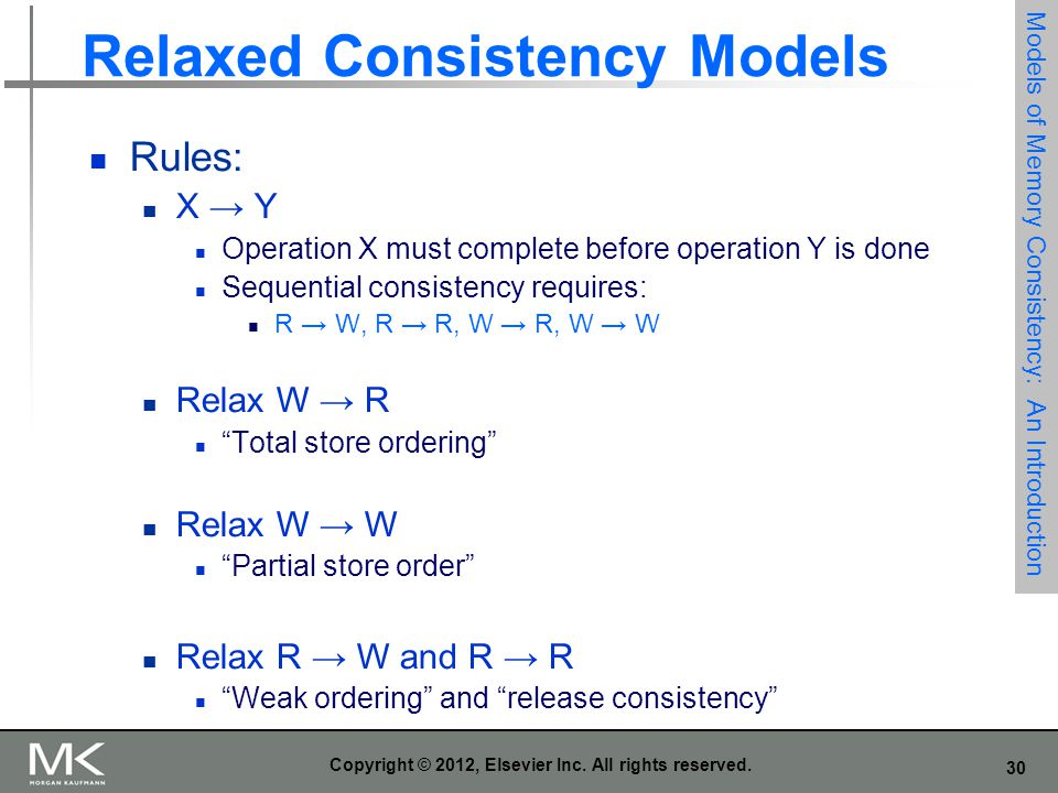 30 Copyright © 2012, Elsevier Inc. All rights reserved. Relaxed Consistency Models Rules: X → Y Operation X must complete before operation Y is done S