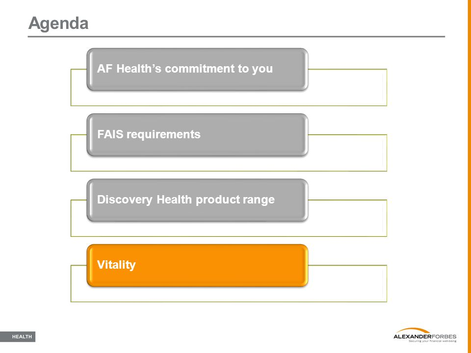 Agenda AF Health's commitment to youFAIS requirementsDiscovery Health product rangeVitality