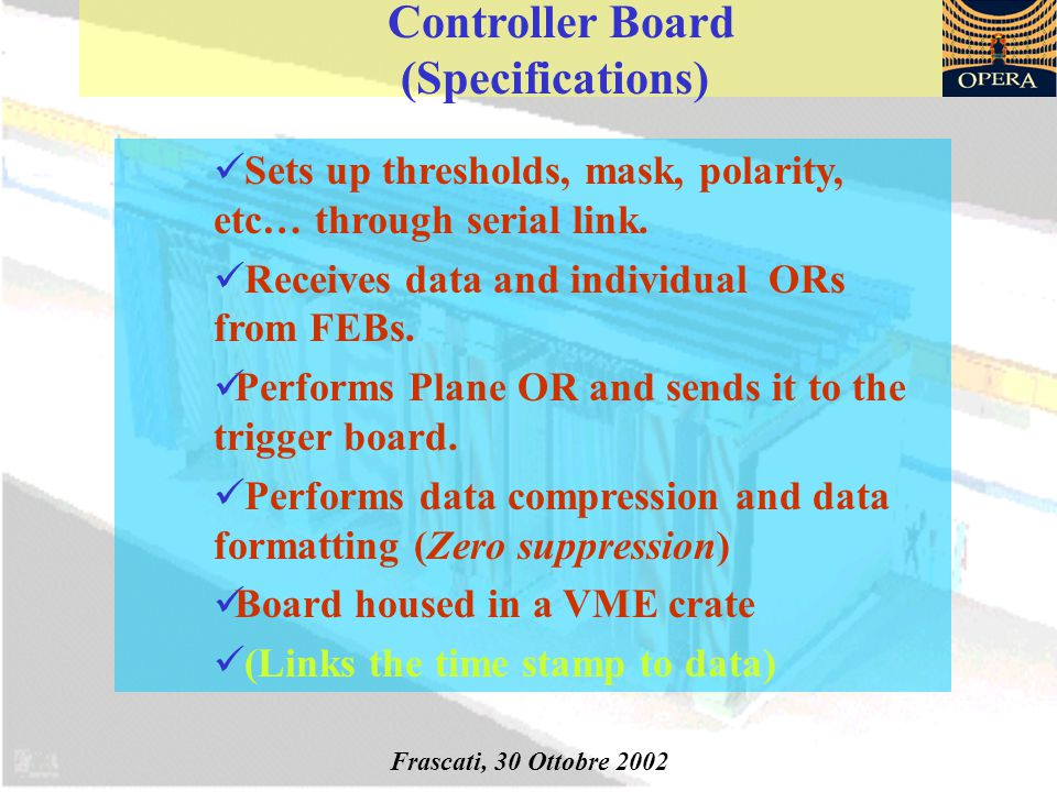 Controller Board (Specifications) Sets up thresholds, mask, polarity, etc… through serial link.