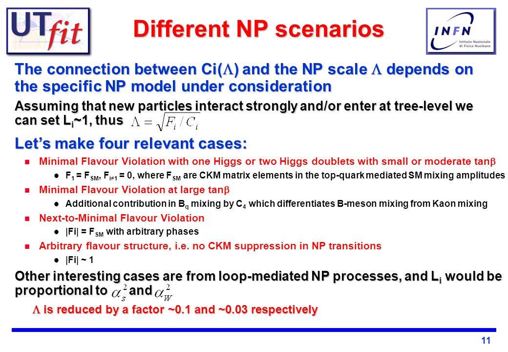11 Different NP scenarios The connection between Ci(  ) and the NP scale  depends on the specific NP model under consideration Assuming that new particles interact strongly and/or enter at tree-level we can set L i ~1, thus Let's make four relevant cases: Minimal Flavour Violation with one Higgs or two Higgs doublets with small or moderate tan  F 1 = F SM, F i≠1 = 0, where F SM are CKM matrix elements in the top-quark mediated SM mixing amplitudes Minimal Flavour Violation at large tan  Additional contribution in B q mixing by C 4 which differentiates B-meson mixing from Kaon mixing Next-to-Minimal Flavour Violation |Fi| = F SM with arbitrary phases Arbitrary flavour structure, i.e.