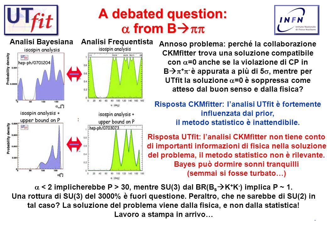 4 A debated question:  from B   Analisi BayesianaAnalisi Frequentista Annoso problema: perché la collaborazione CKMfitter trova una soluzione comp