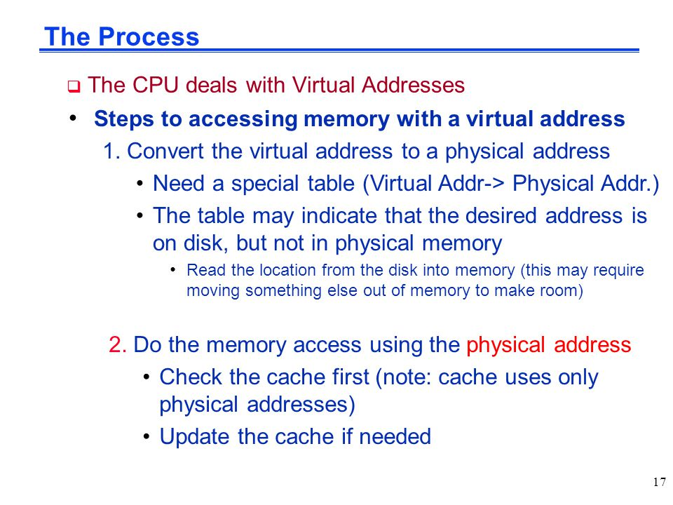 The Process  The CPU deals with Virtual Addresses Steps to accessing memory with a virtual address 1. Convert the virtual address to a physical addre