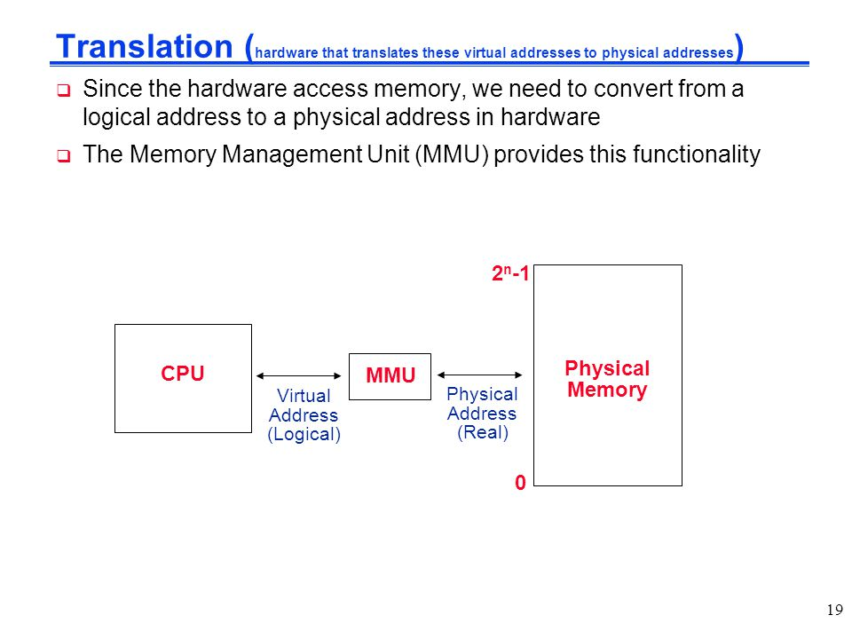 Translation ( hardware that translates these virtual addresses to physical addresses )  Since the hardware access memory, we need to convert from a l
