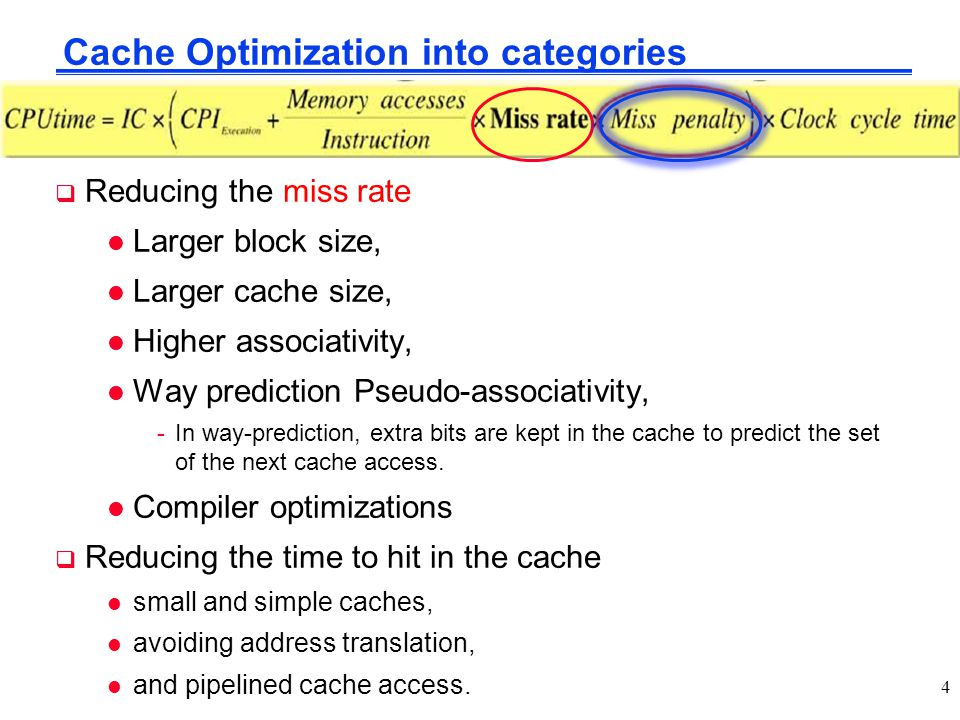 Cache Optimization into categories  Reducing the miss rate l Larger block size, l Larger cache size, l Higher associativity, l Way prediction Pseudo-