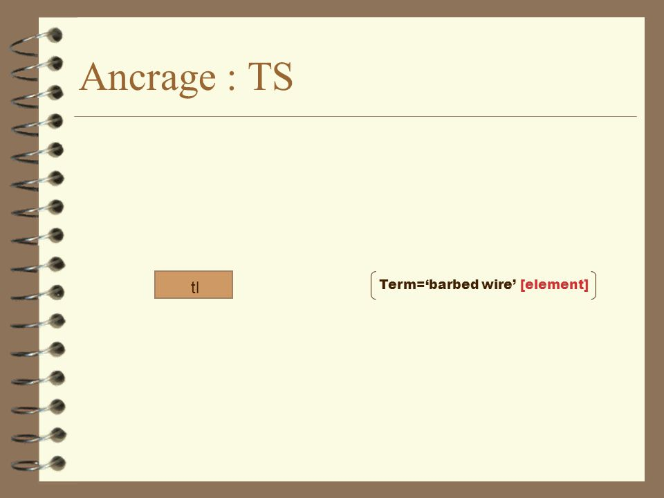Ancrage : TS tl Term='barbed wire' [element]