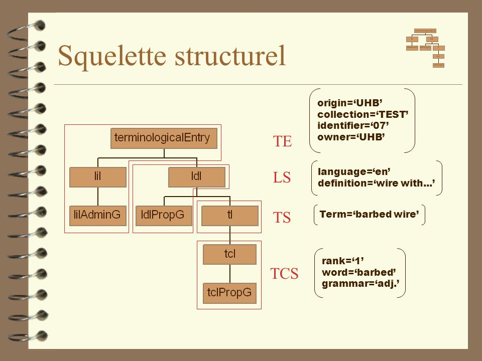 Squelette structurel origin='UHB' collection='TEST' identifier='07' owner='UHB' language='en' definition='wire with...' Term='barbed wire' rank='1' wo