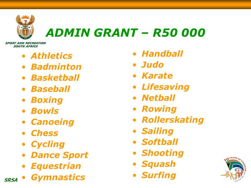 SRSA ADMIN GRANT – R50 000 Athletics Badminton Basketball Baseball Boxing Bowls Canoeing Chess Cycling Dance Sport Equestrian Gymnastics Handball Judo