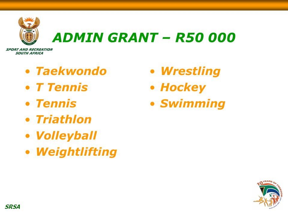 SRSA ADMIN GRANT – R50 000 Taekwondo T Tennis Tennis Triathlon Volleyball Weightlifting Wrestling Hockey Swimming