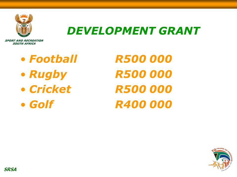 SRSA DEVELOPMENT GRANT FootballR500 000 RugbyR500 000 CricketR500 000 GolfR400 000