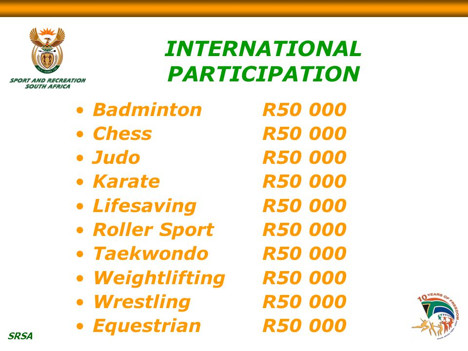 SRSA INTERNATIONAL PARTICIPATION BadmintonR50 000 ChessR50 000 JudoR50 000 KarateR50 000 LifesavingR50 000 Roller SportR50 000 TaekwondoR50 000 WeightliftingR50 000 WrestlingR50 000 EquestrianR50 000