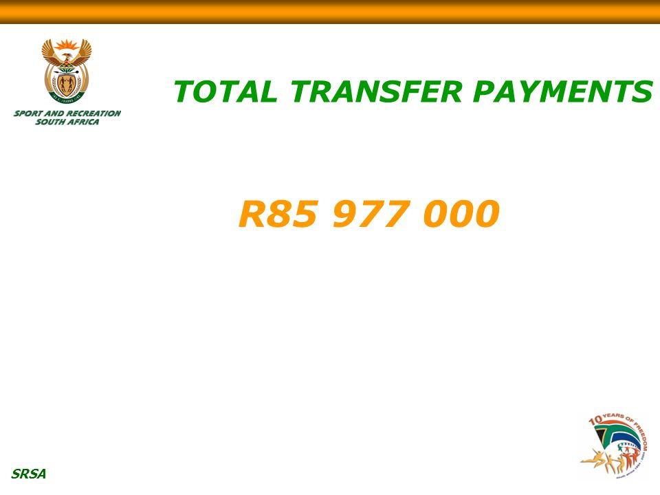 SRSA TOTAL TRANSFER PAYMENTS R85 977 000