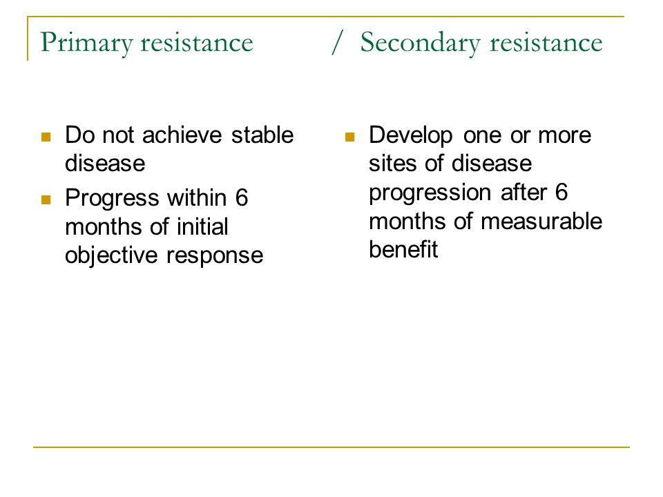 Primary resistance / Secondary resistance Do not achieve stable disease Progress within 6 months of initial objective response Develop one or more sites of disease progression after 6 months of measurable benefit