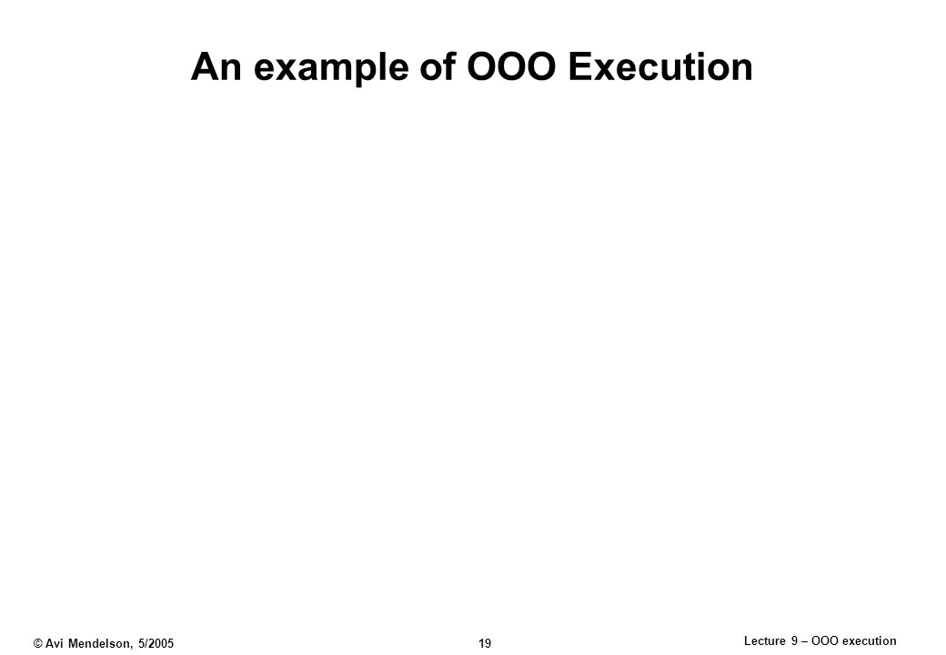 Lecture 9 – OOO execution © Avi Mendelson, 5/2005 19 An example of OOO Execution