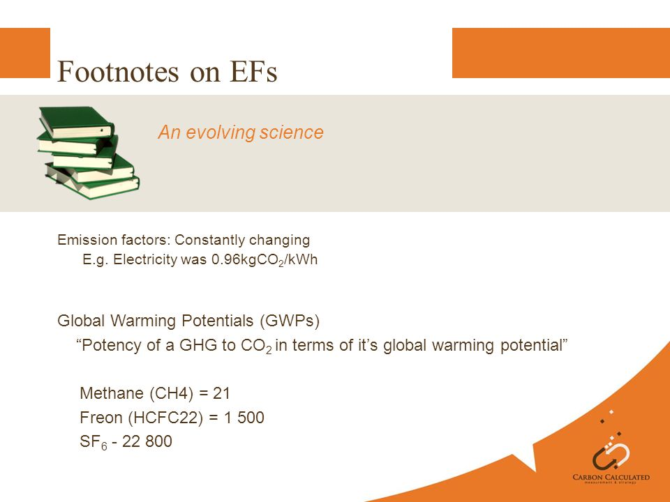Footnotes on EFs Emission factors: Constantly changing E.g.