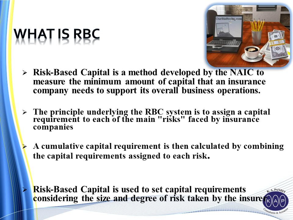  Risk-Based Capital is a method developed by the NAIC to measure the minimum amount of capital that an insurance company needs to support its overall business operations.