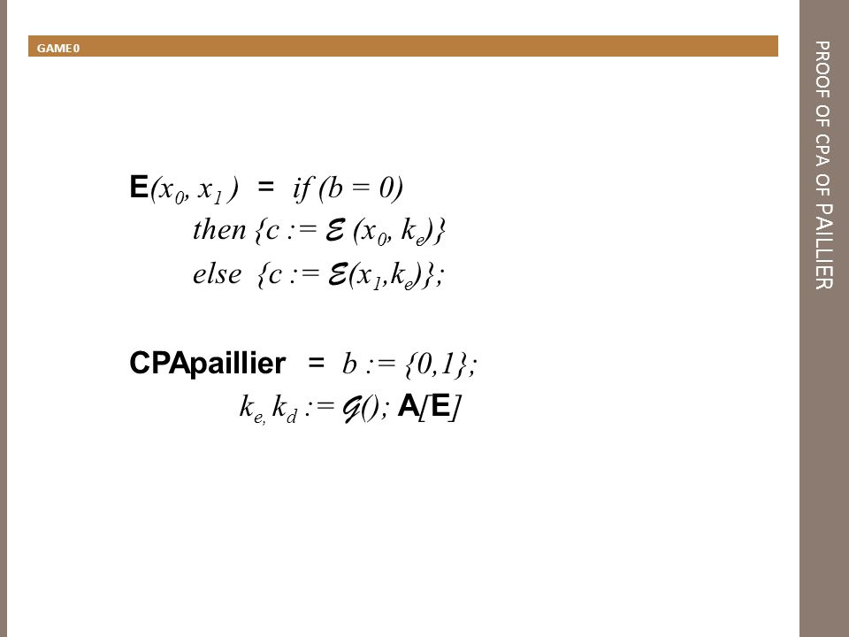 PROOF OF CPA OF PAILLIER step 1: INLINE E (x 0, x 1 ) = if (b = 0) then { y := {1..