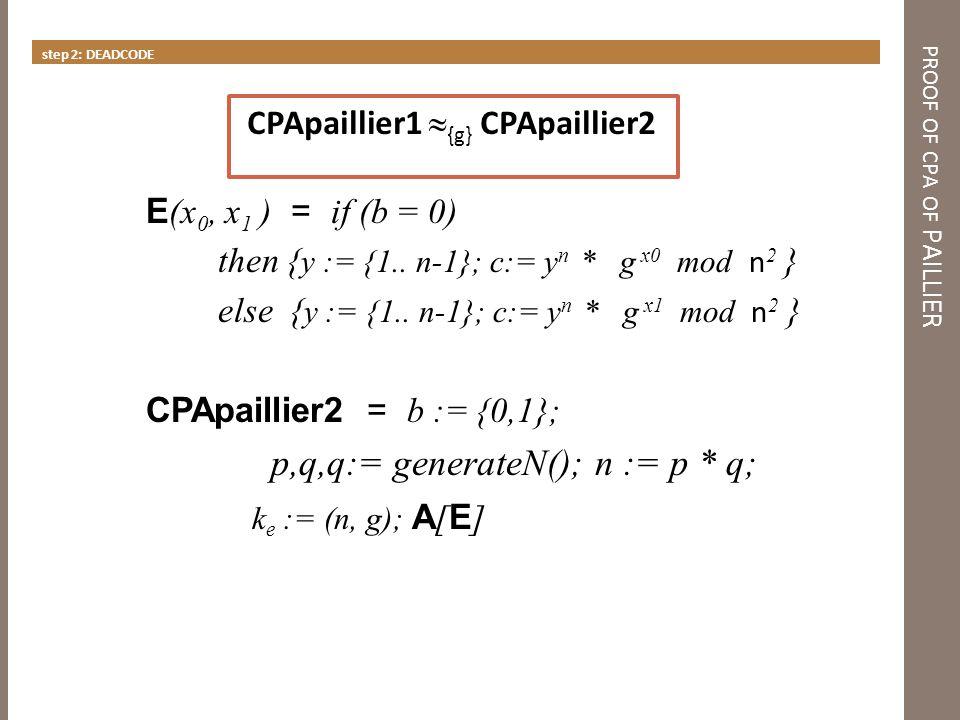 PROOF OF CPA OF PAILLIER step 3 INLINE CR (x 0, x 1 ) = if (b = 0) then {y:= {1..n-1}; c :=y n mod n 2 } else {c:= {1..