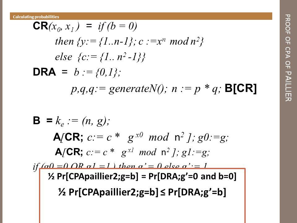 ½ Pr[CPApaillier2;g=b] = Pr[DRA;g'=1 and b=1] ½ Pr[CPApaillier2;g=b] ≤ Pr[DRA;g'=b] PROOF OF CPA O F PAILLIER step 3 INLINE CR (x 0, x 1 ) = if (b = 0) then {y:= {1..n-1}; c :=x n mod n 2 } else {c:= {1..