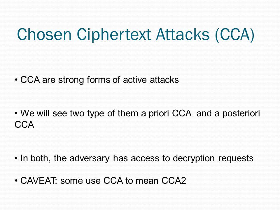 Chosen-cyphertext attack 2 (CCA1) E = if (b = 0) then {m := E (x 0, k e )} else {m := E (x 1,k e )}; CCA1 = b := {0,1}; k e, k d := G e (); A [ D ]; E;A' D = x := D (m,k d );
