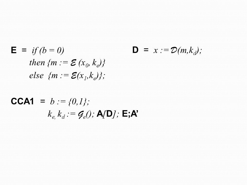 E = if (b = 0) then { e0, e1 := E r0 (x0, k0 e ); E r1 (x0, k1 e ); p0,p1,p:= P (e0, e1, x0, r0,r1, ); c:= e0,e1, p0,p1,p } else { e0, e1 := E r0' (x1, k0 e ); E r1' (x1, k1 e ); p:= P (e0, e1, x1, r0',r1'); c:= e0,e1, p0,p1,p }; CCA1-1 = b := {0,1}; k0 e, k0 d := G ( ); k1 e, k1 d := G ( ) A [ D ]; E;A' D = if V (e0, e1,p0,p1,p) = true then x: = D (e1, k1 d ) Inline CCA1  {g} CCA1-1