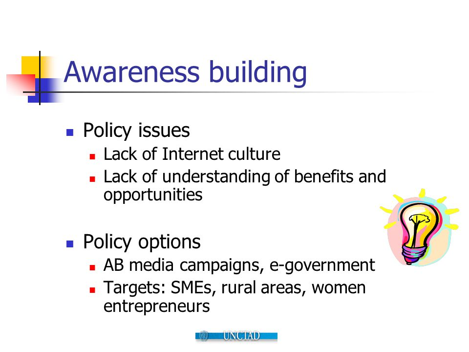 Awareness building Policy issues Lack of Internet culture Lack of understanding of benefits and opportunities Policy options AB media campaigns, e-gov