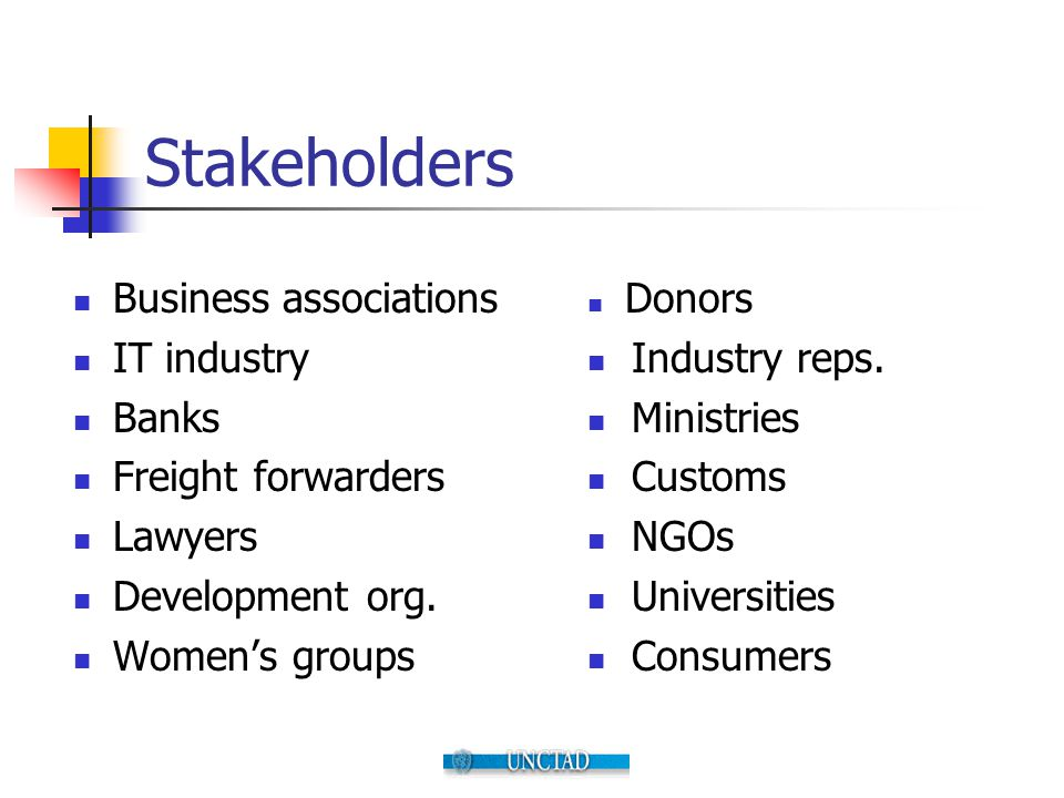 Stakeholders Business associations IT industry Banks Freight forwarders Lawyers Development org. Women's groups Donors Industry reps. Ministries Custo